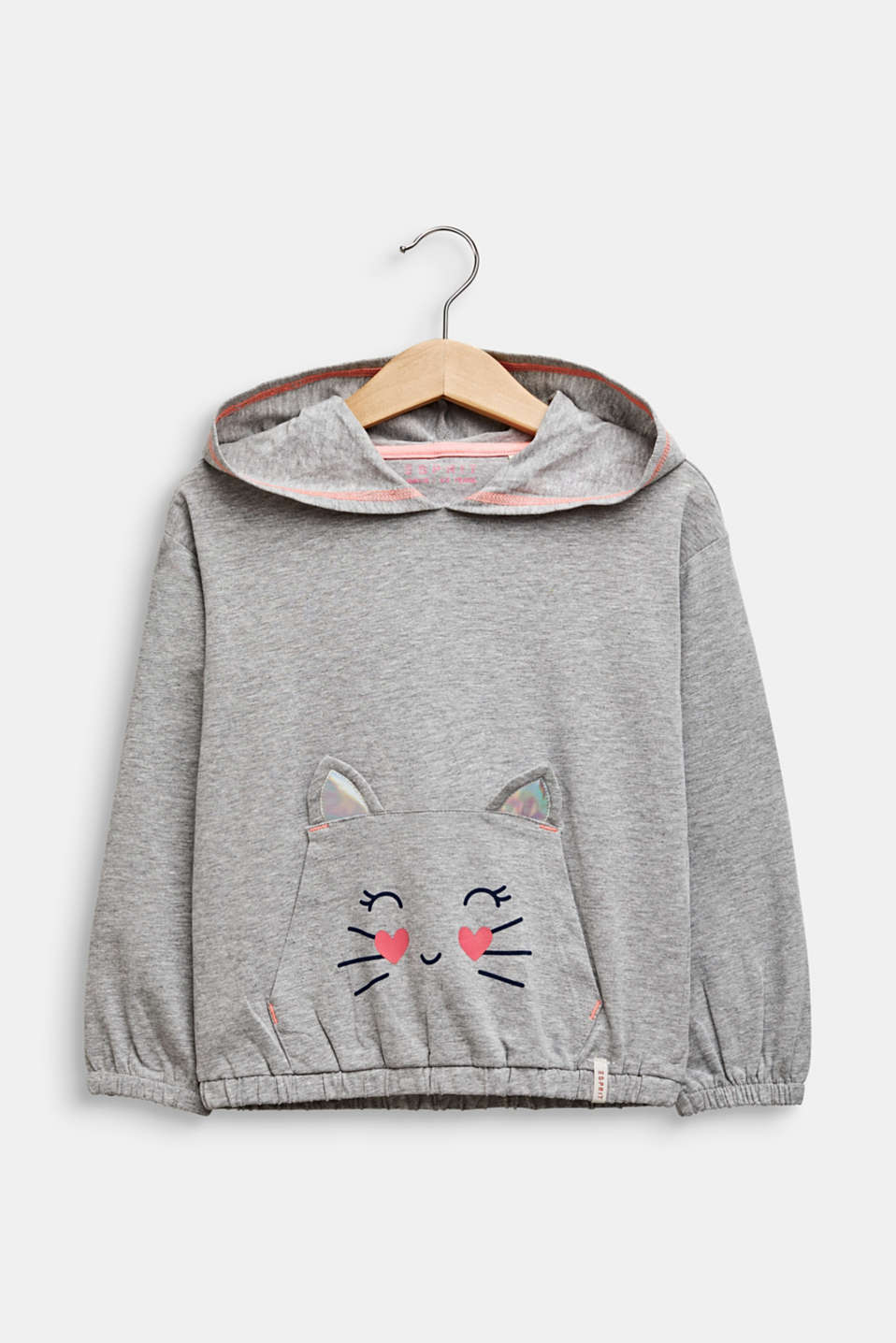 Hooded long sleeve top with a cat face