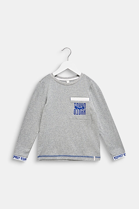 Printed long sleeve top with logo borders