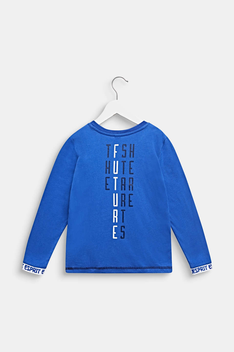 Printed long sleeve top with logo borders, INFINITY BLUE, detail image number 1