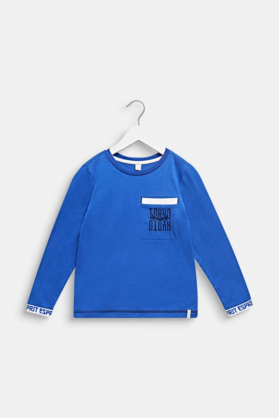 Printed long sleeve top with logo borders, INFINITY BLUE, detail image number 0