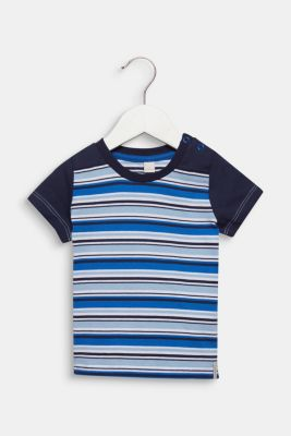 T-shirt with multi-coloured stripes, 100% cotton, LCLIGHT BLUE, detail