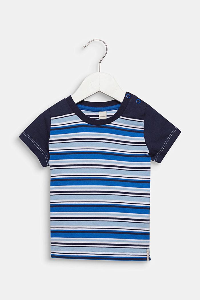 T-Shirt mit Multicolor-Streifen, 100% Baumwolle, LIGHT BLUE, detail image number 0