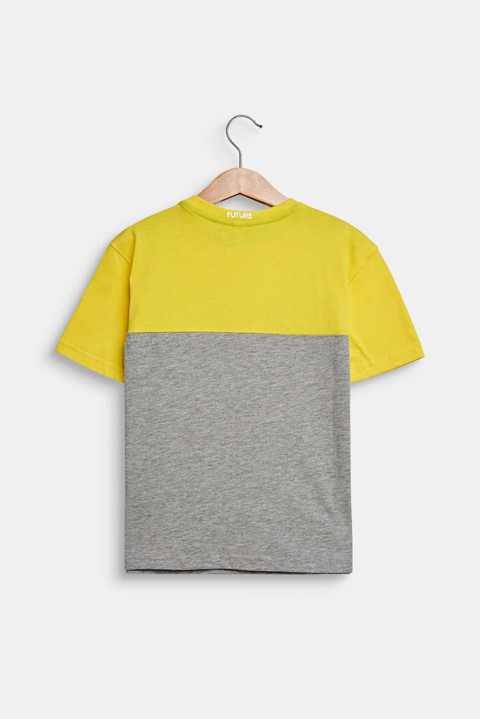 Colour block T-shirt with eyes, MID HEATHER GR, detail image number 1