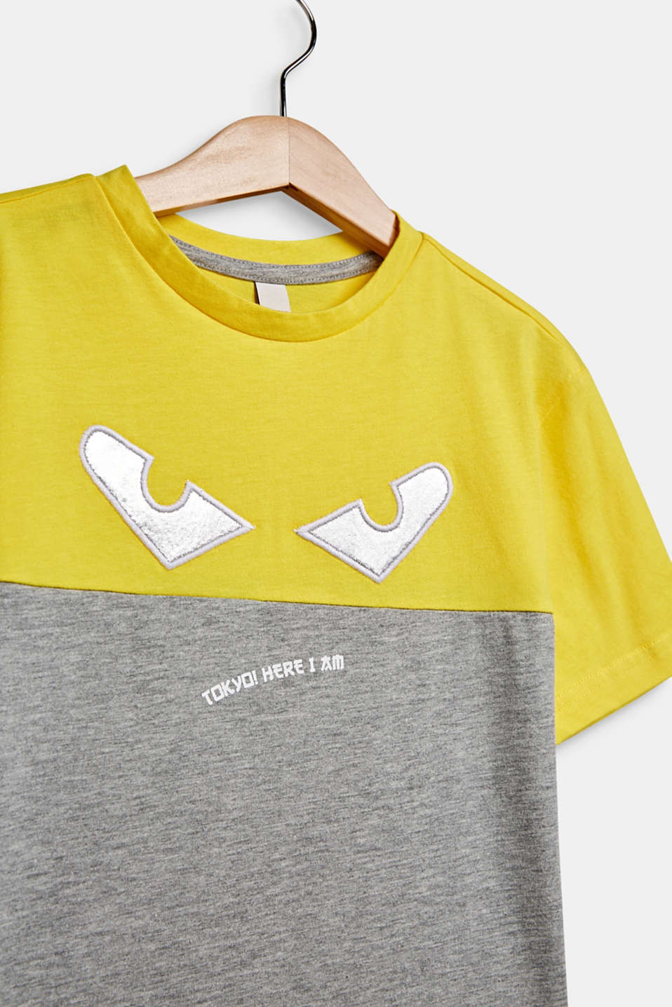 Colour block T-shirt with eyes, MID HEATHER GR, detail image number 2
