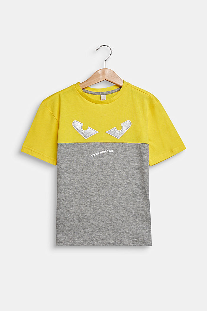 Color Block-T-Shirt mit Augen, MID HEATHER GREY, detail image number 0