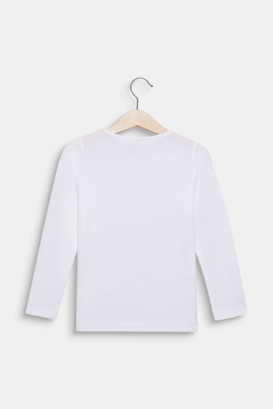 Long sleeve top with a front print, 100% cotton, WHITE, detail image number 1