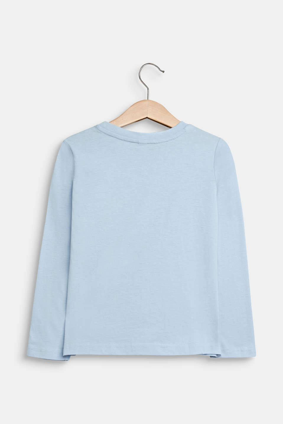 Printed long sleeve top, 100% cotton, SKY BLUE, detail image number 1