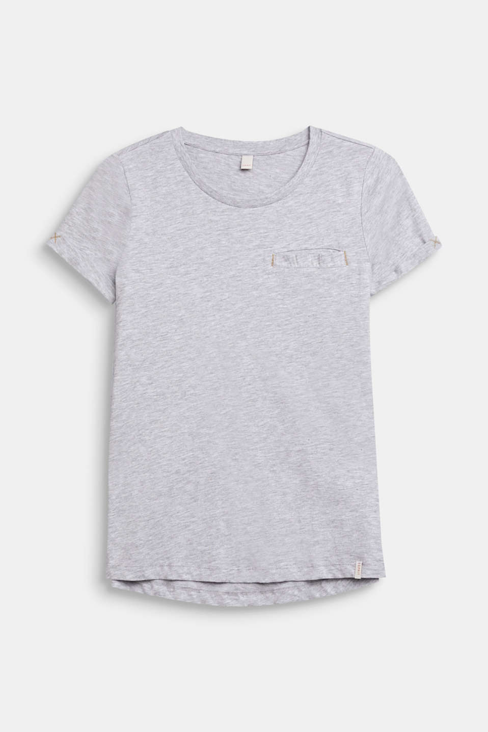 Mottled T-shirt with a breast pocket, LCHEATHER SILVER, detail image number 0