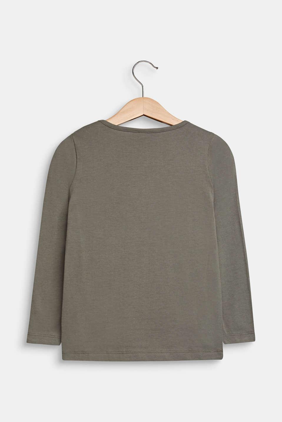Glitter print long sleeve cotton top, 100% cotton, KAKI, detail image number 1