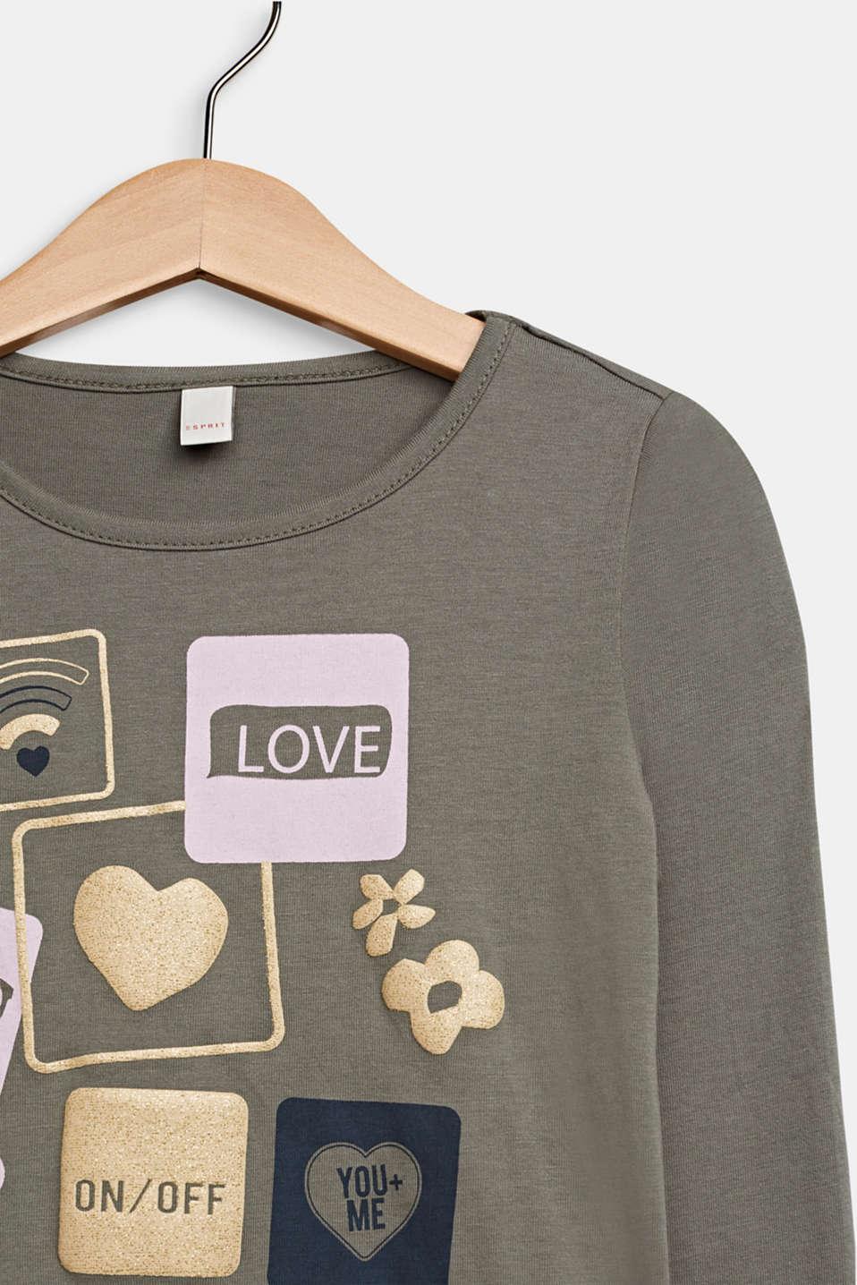 Glitter print long sleeve cotton top, 100% cotton, KAKI, detail image number 2