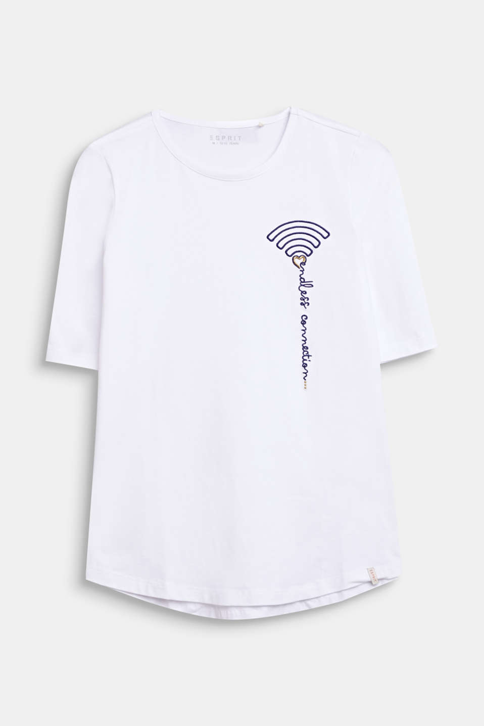 T-shirt with WiFi embroidery, stretch cotton, LCWHITE, detail image number 0