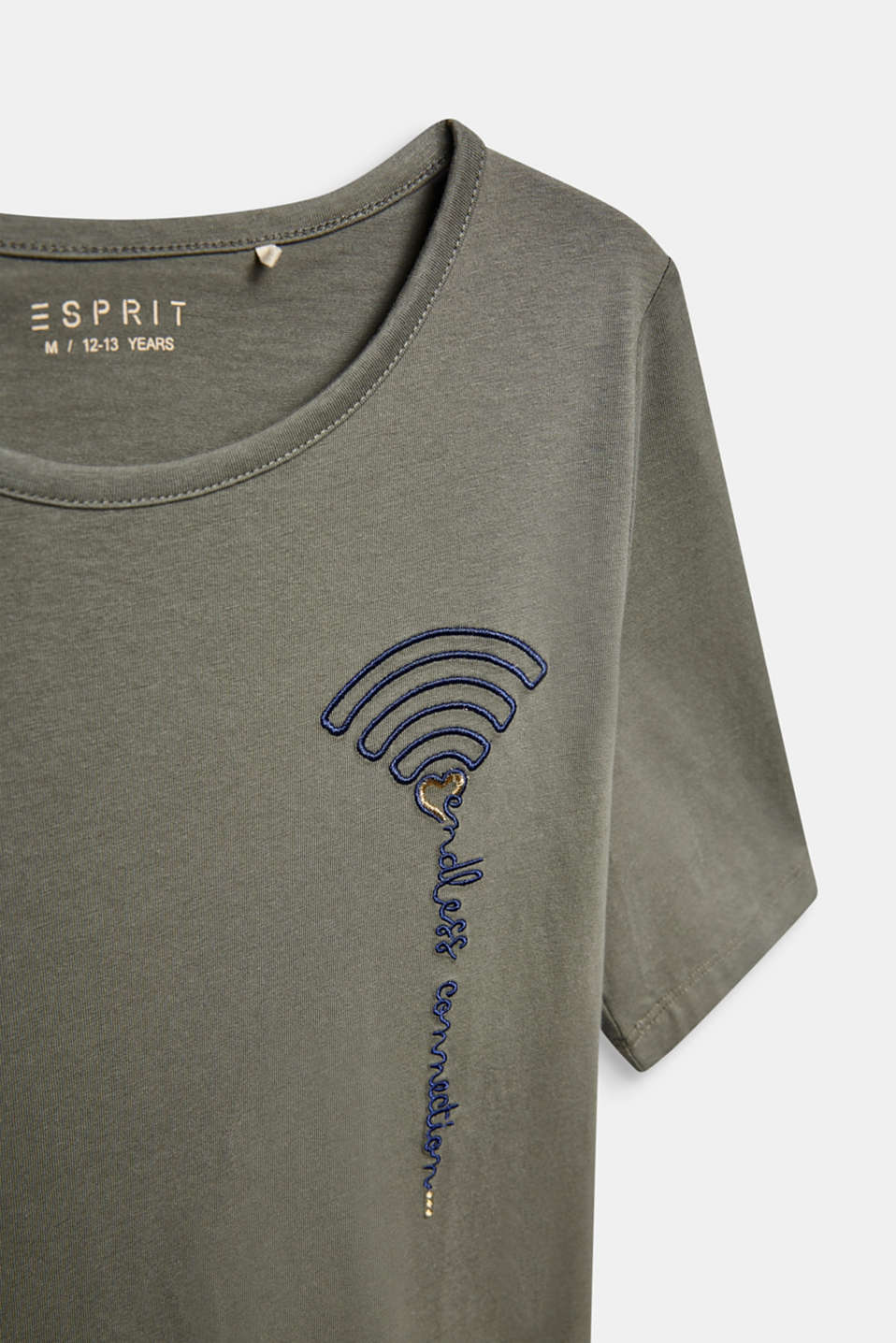 T-shirt with WiFi embroidery, stretch cotton, LCKAKI, detail image number 2