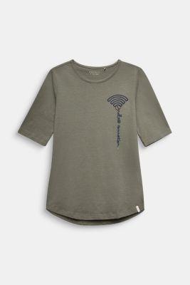 T-shirt with WiFi embroidery, stretch cotton, LCKAKI, detail