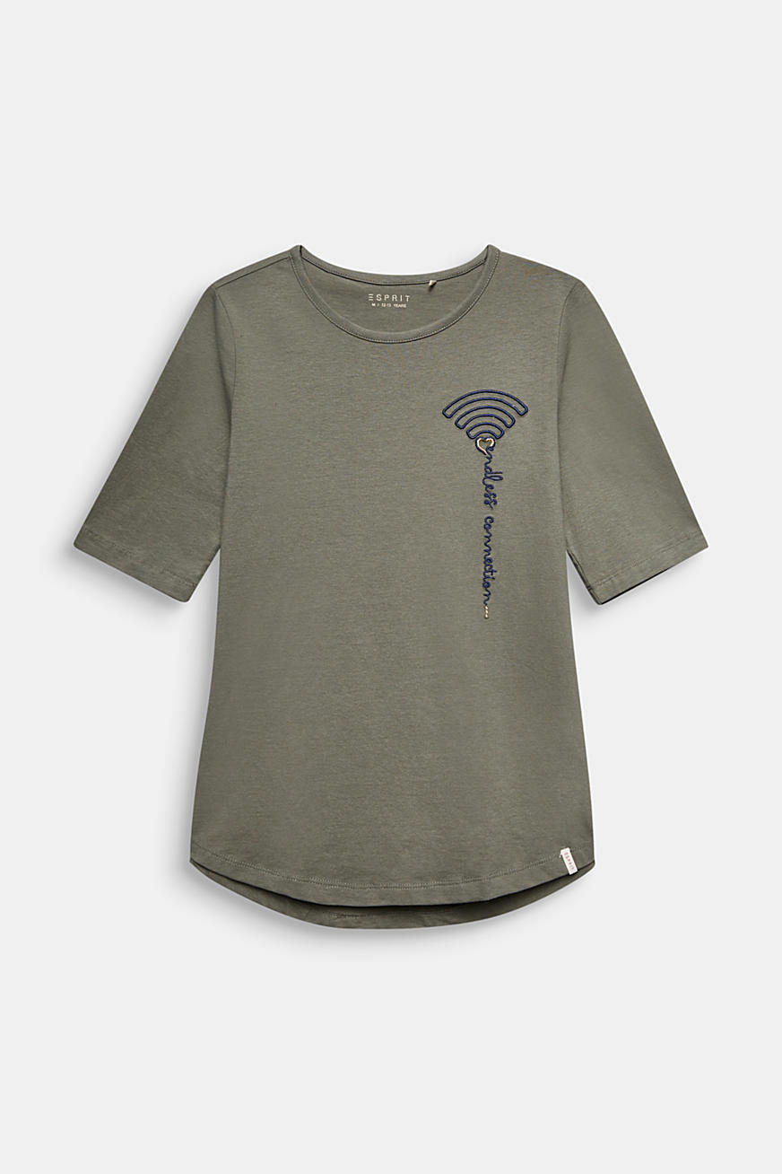 T-shirt with WiFi embroidery, stretch cotton