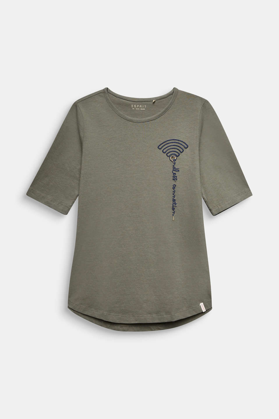 Esprit - T-shirt with WiFi embroidery, stretch cotton