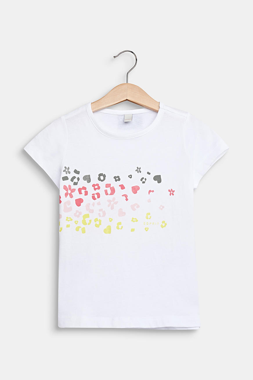 Printed T-shirt with glitter, 100% cotton