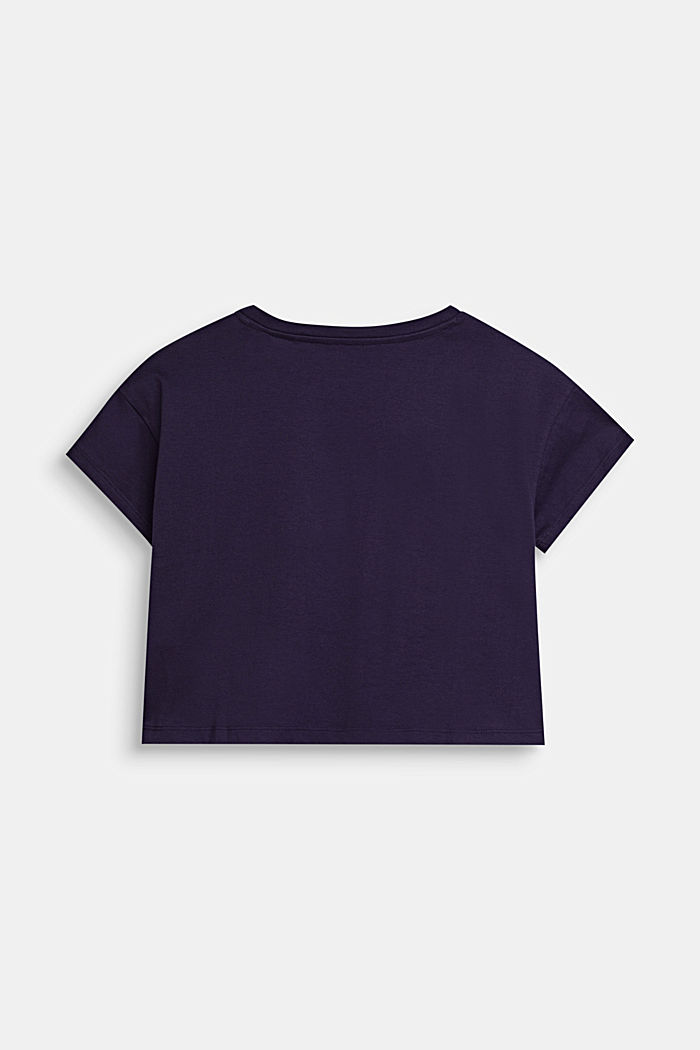 Zkrácené tričko s nápisem, 100% bavlna, NIGHT BLUE, detail image number 1