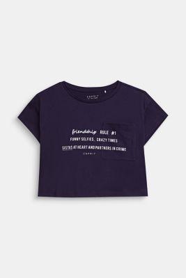 Cropped statement T-shirt, 100% cotton, NIGHT BLUE, detail