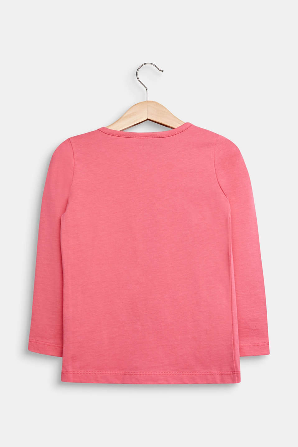 Long sleeve top with sequins, 100% cotton, DARK PINK, detail image number 1