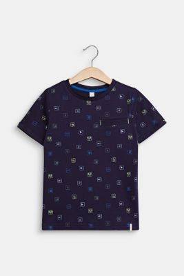 T-shirt with an all-over print, 100% cotton, NIGHT BLUE, detail
