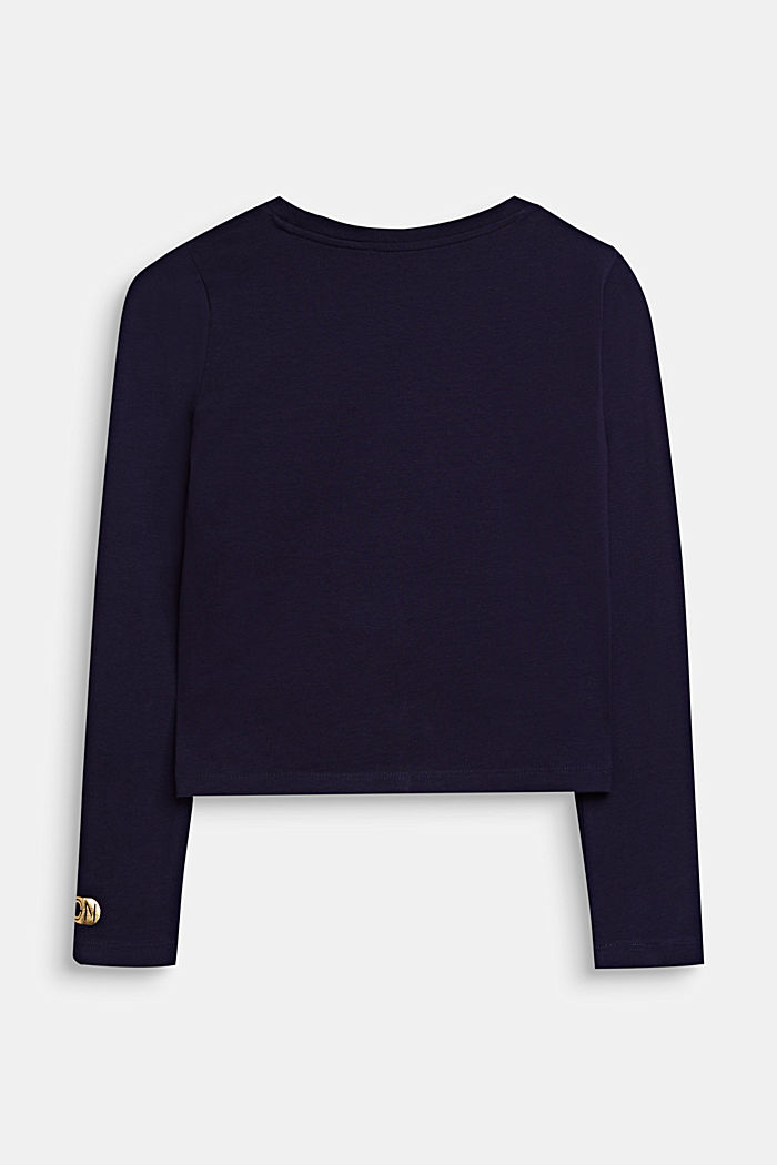 Cropped long sleeve top with shiny print, NIGHT BLUE, detail image number 1