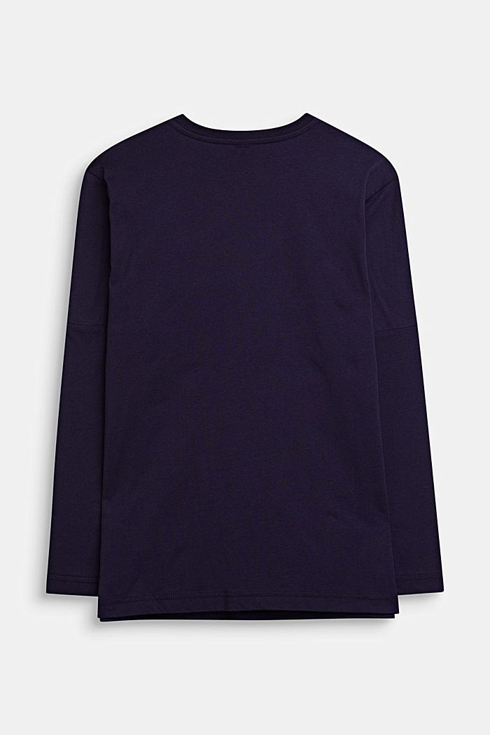 Camiseta de manga larga estampada, 100% algodón, NIGHT BLUE, detail image number 1