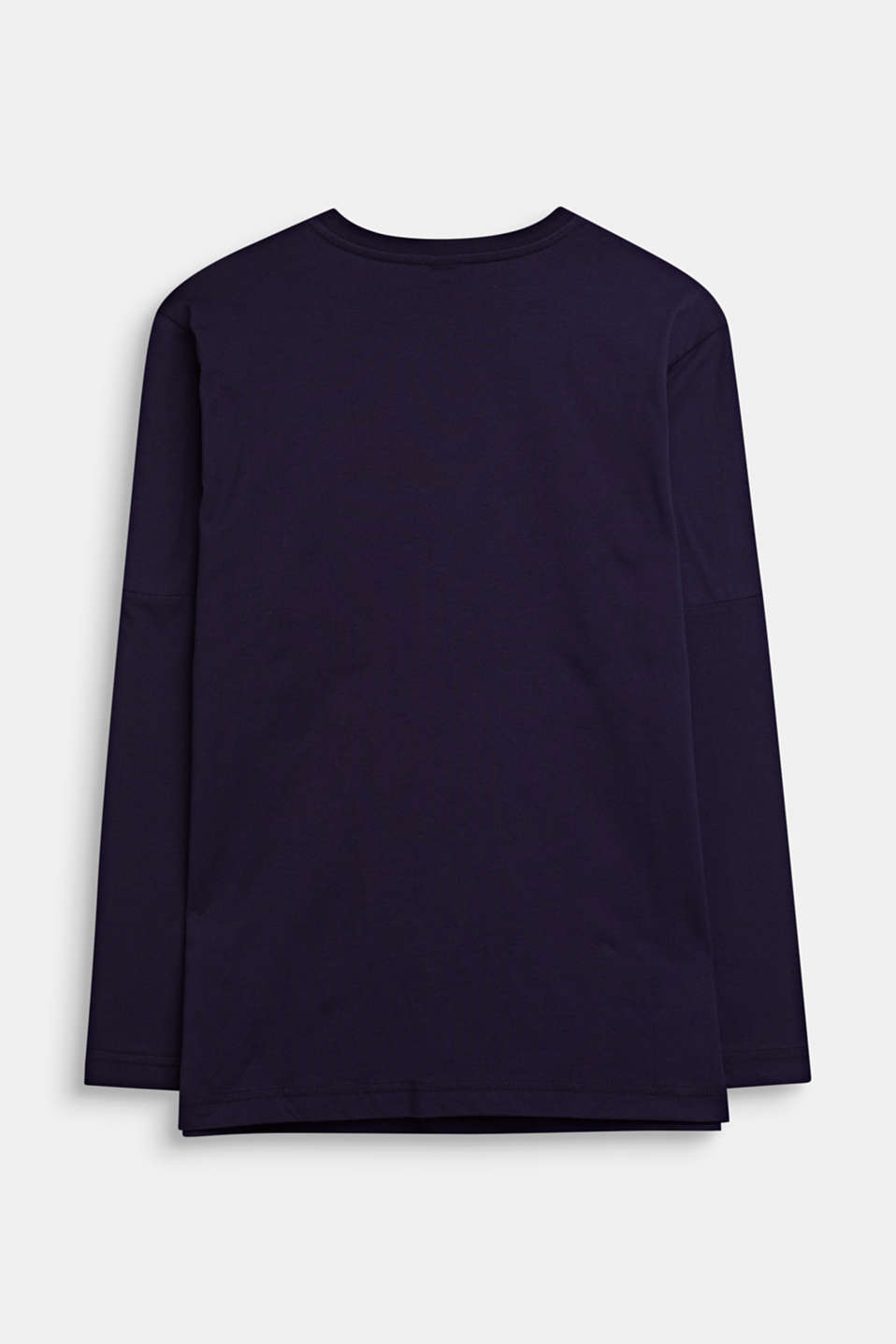 Printed long sleeve top, 100% cotton, LCNIGHT BLUE, detail image number 1