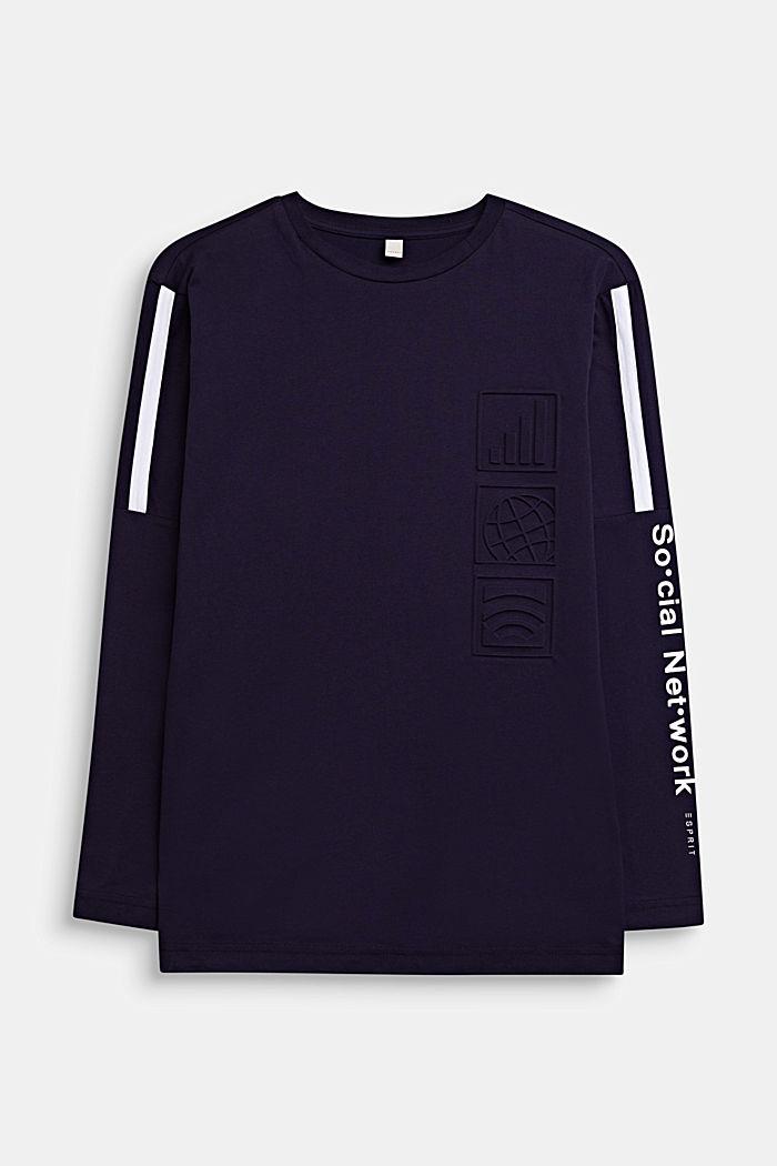 Camiseta de manga larga estampada, 100% algodón, NIGHT BLUE, detail image number 0