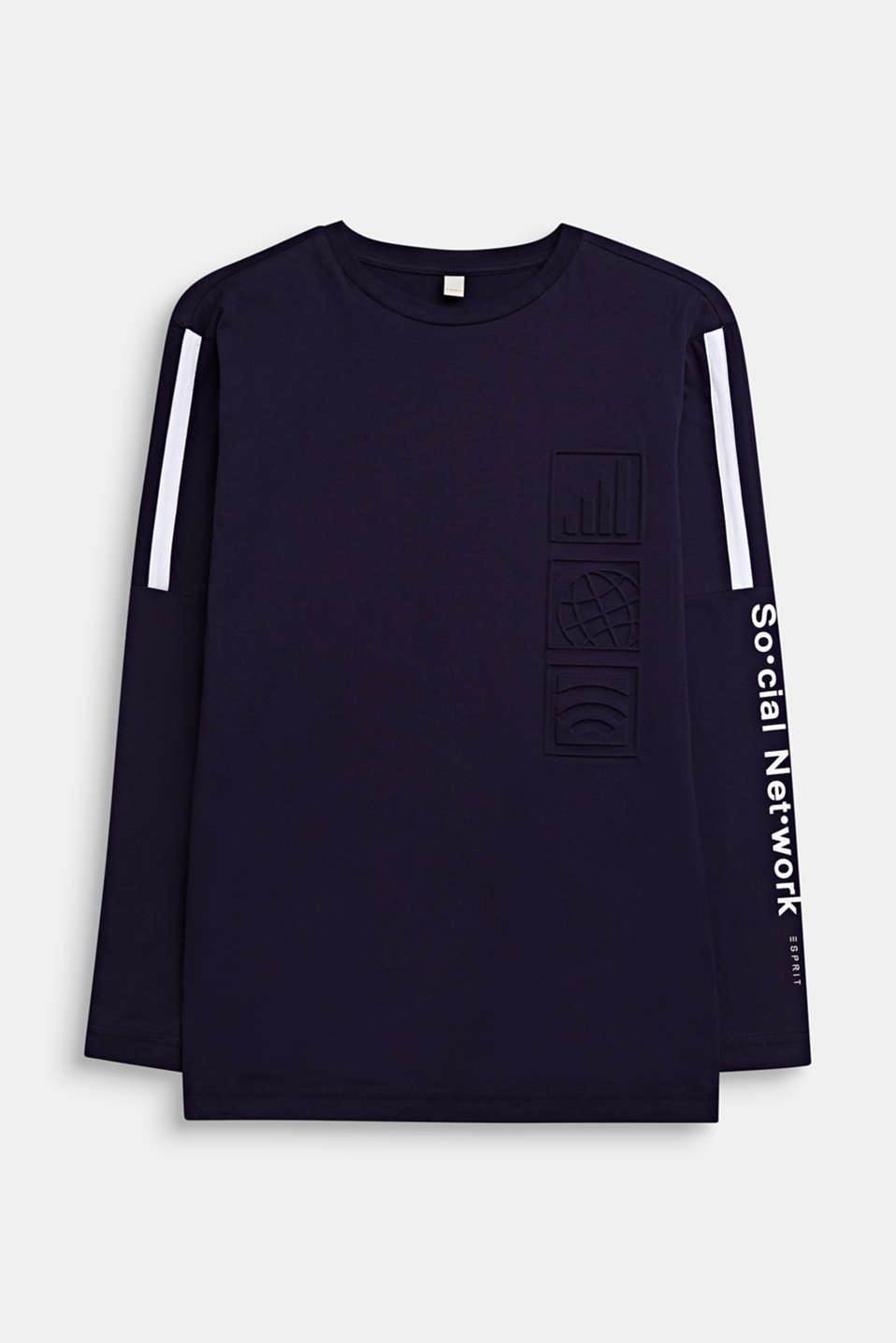 Printed long sleeve top, 100% cotton, LCNIGHT BLUE, detail image number 0
