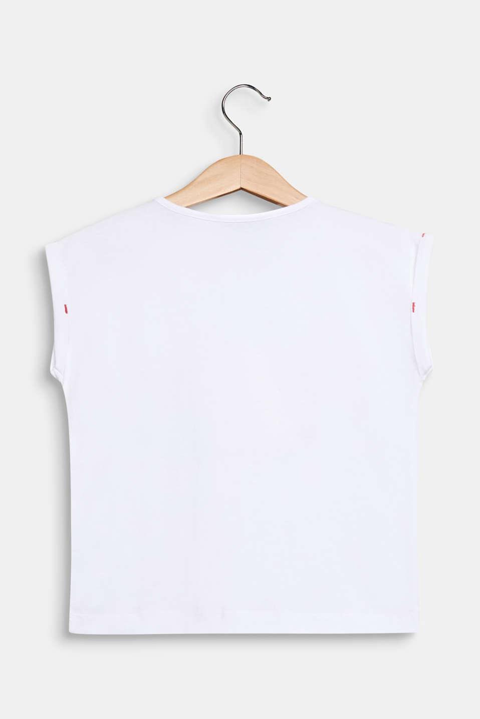 Glitter print T-shirt, 100% cotton, WHITE, detail image number 1