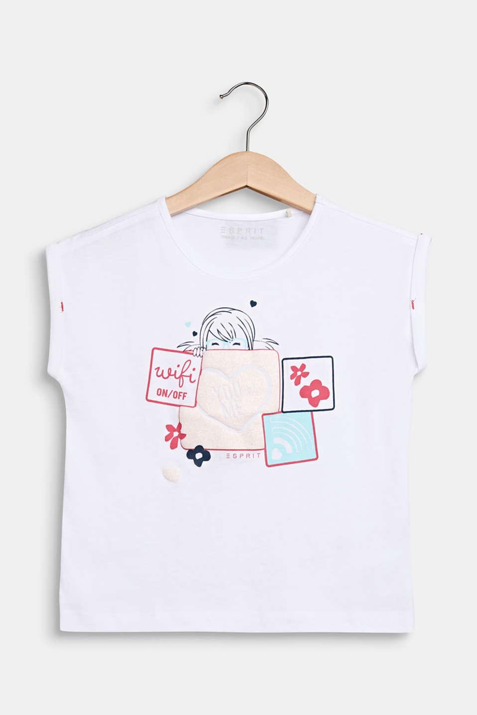 Glitter print T-shirt, 100% cotton, WHITE, detail image number 0