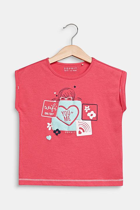 Glitter print T-shirt, 100% cotton