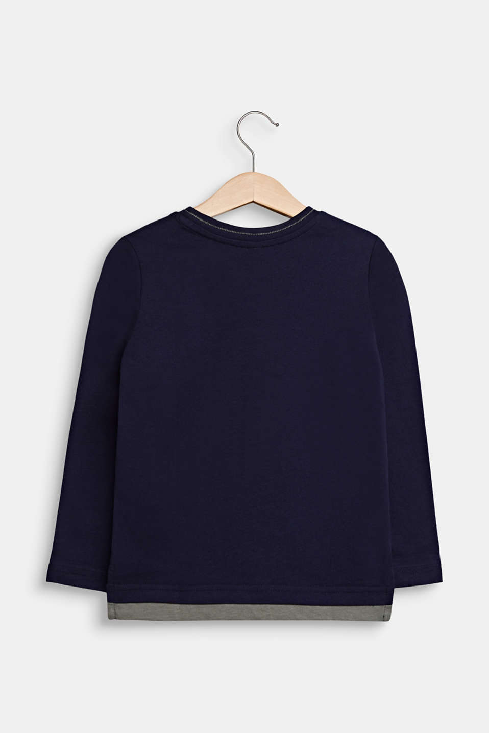 Long sleeve top made of 100% cotton, NIGHT BLUE, detail image number 1
