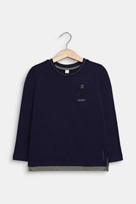 Long sleeve top made of 100% cotton, NIGHT BLUE, detail