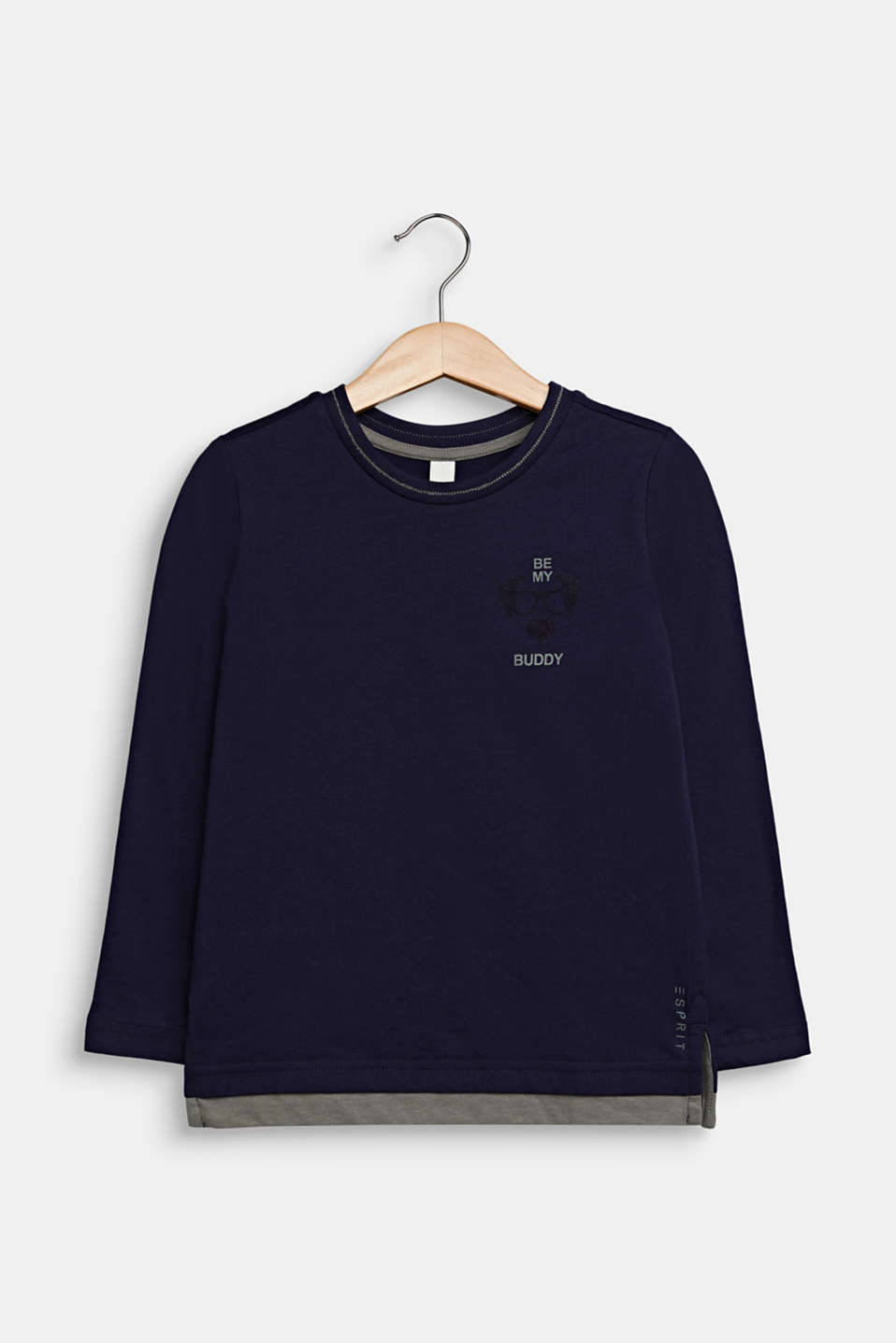 Long sleeve top made of 100% cotton, NIGHT BLUE, detail image number 0