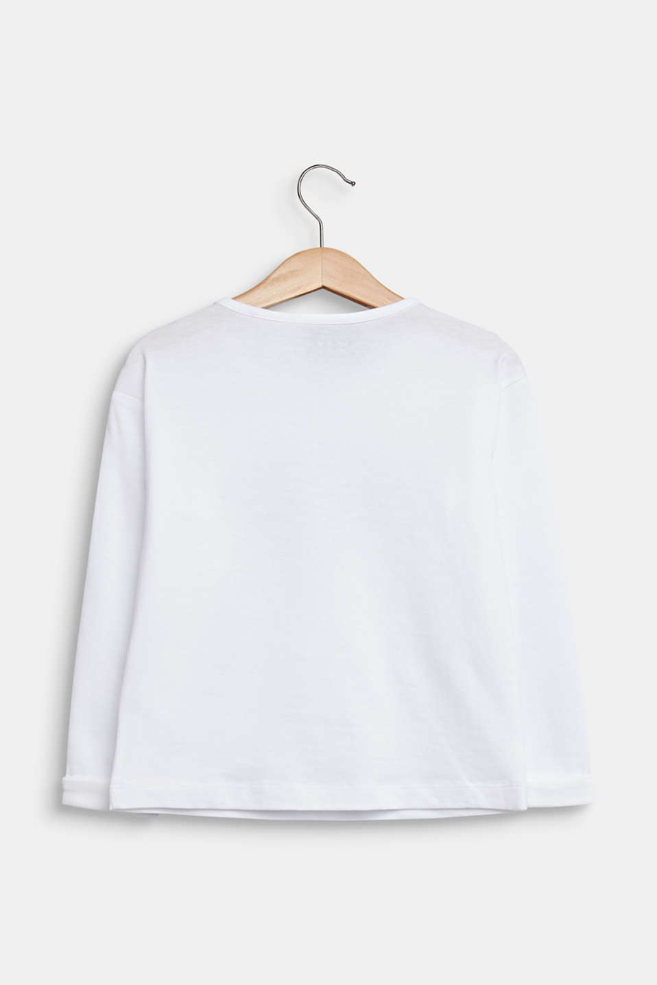 Long sleeve top with sequins, 100% cotton, WHITE, detail image number 1
