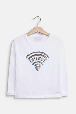 Long sleeve top with sequins, 100% cotton, WHITE, detail