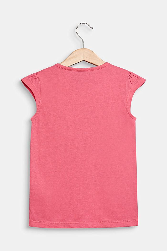 Shirt met print en beleg van bloemen, 100% katoen, DARK PINK, detail image number 1