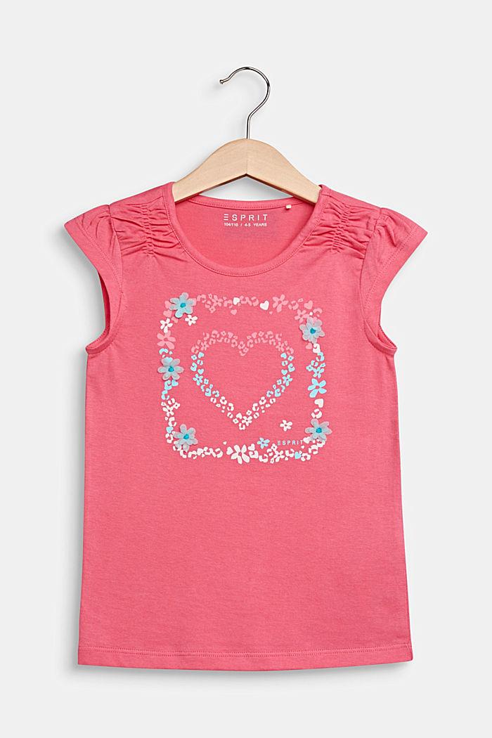 Shirt met print en beleg van bloemen, 100% katoen, DARK PINK, detail image number 0