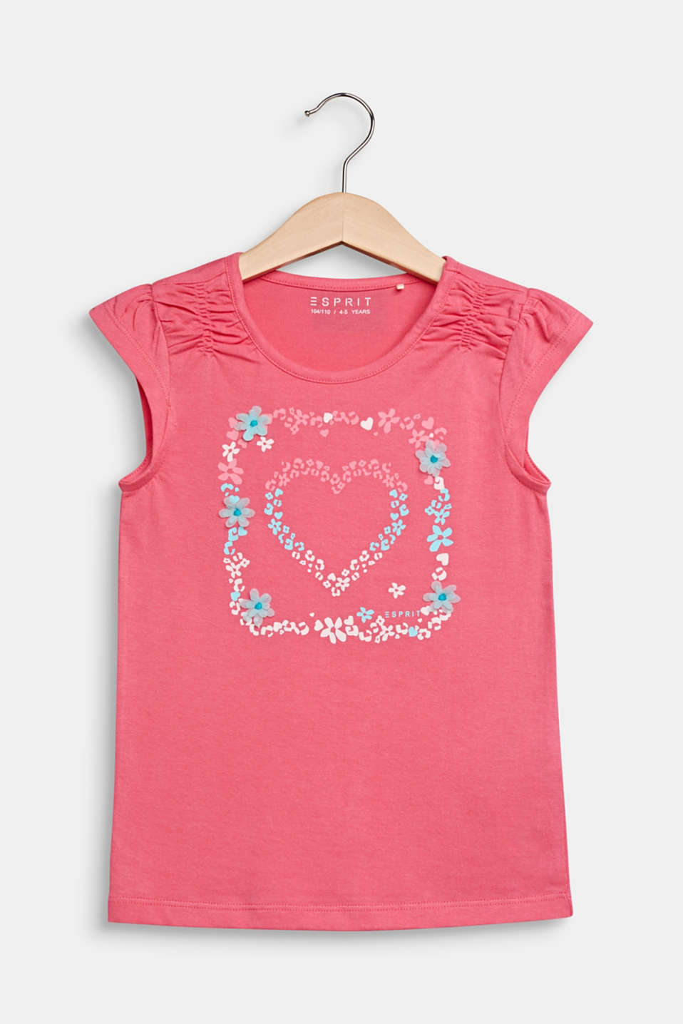 Esprit - Print T-shirt with a floral trim, 100% cotton