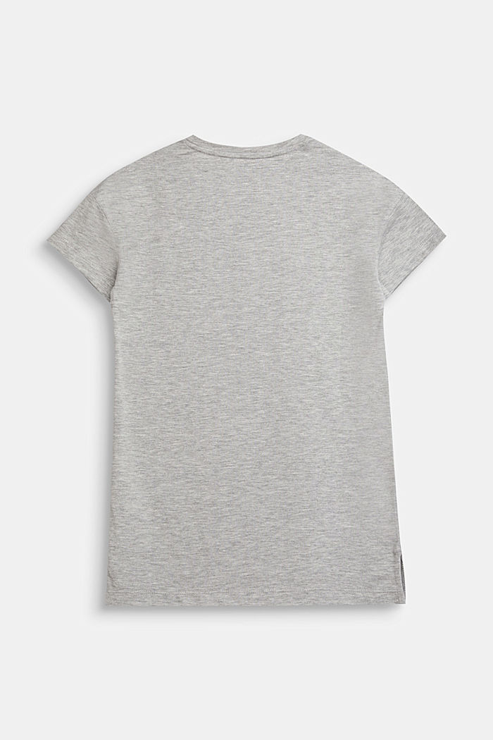 T-shirt with a glittering logo print, HEATHER SILVER, detail image number 1