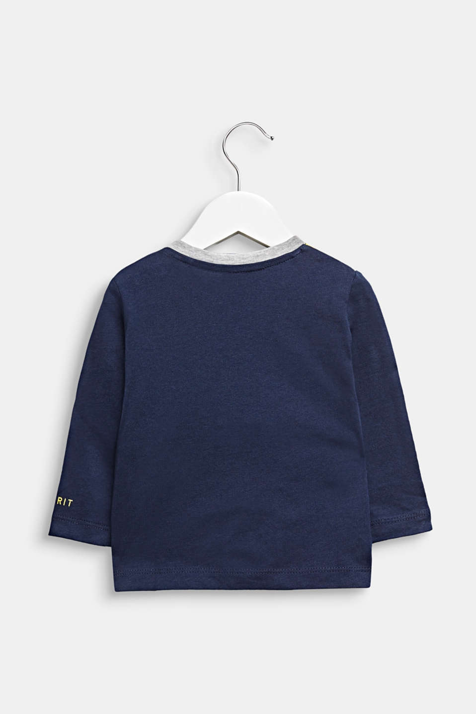 Funny face long sleeve top, 100% cotton, LCMIDNIGHT BLUE, detail image number 1