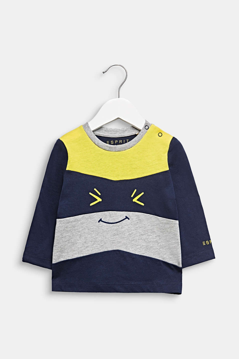Funny face long sleeve top, 100% cotton, LCMIDNIGHT BLUE, detail image number 0
