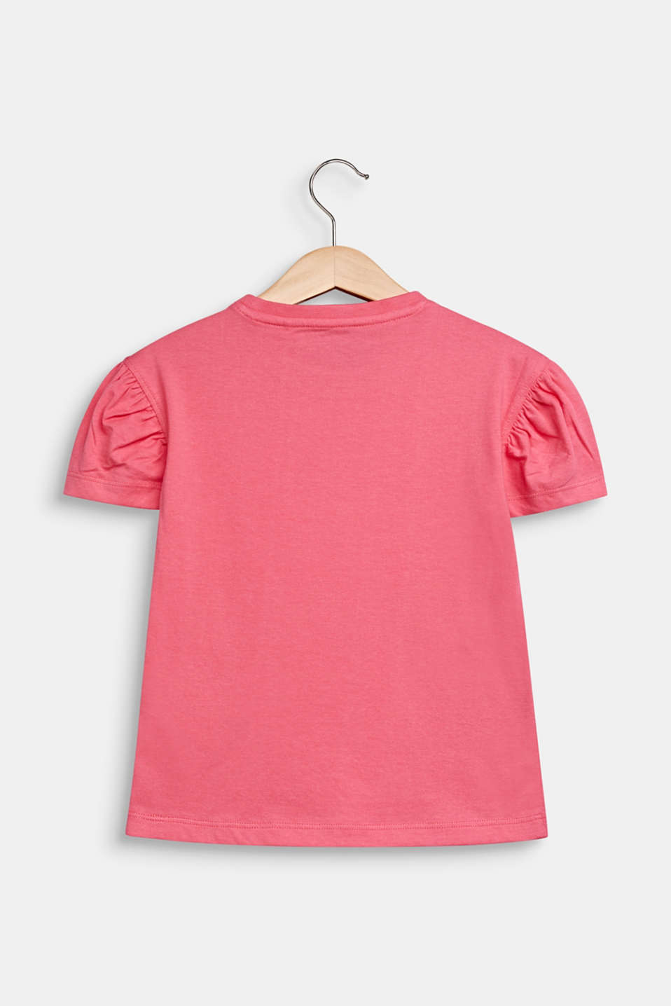 T-shirt with appliqués and puff sleeves, DARK PINK, detail image number 1