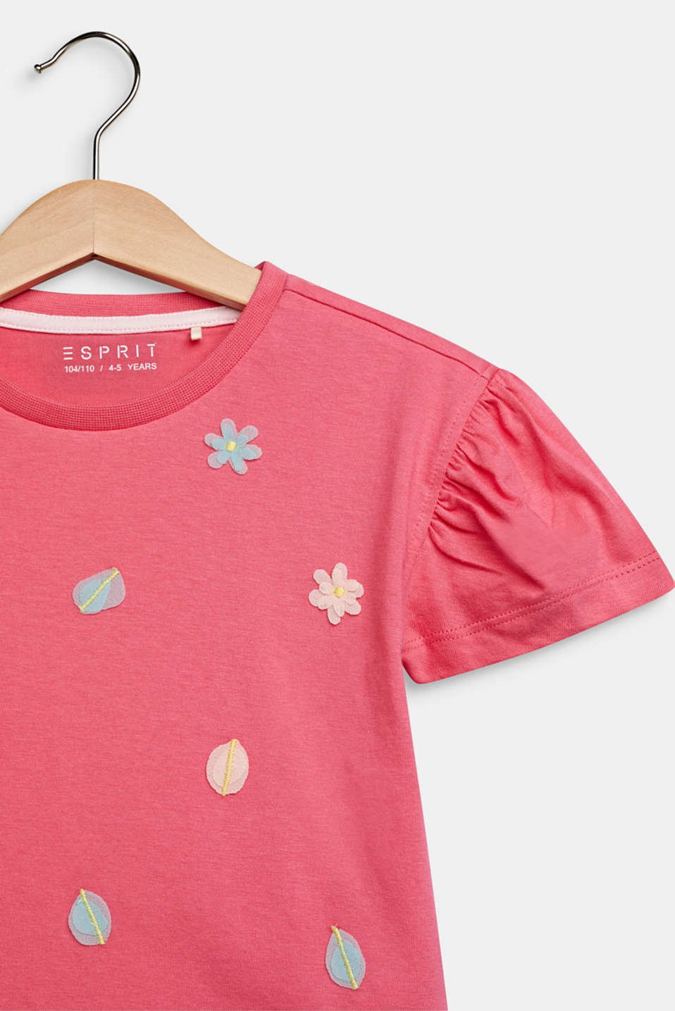 T-shirt with appliqués and puff sleeves, DARK PINK, detail image number 2