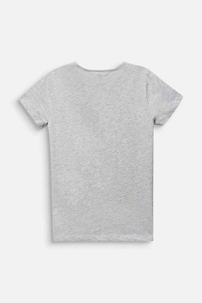 T-shirt with a glittering statement print, HEATHER SILVER, detail image number 1