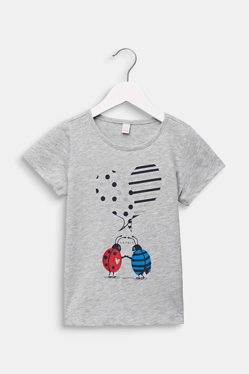 T-shirt with a glittering ladybird print, HEATHER SILVER, detail image number 0