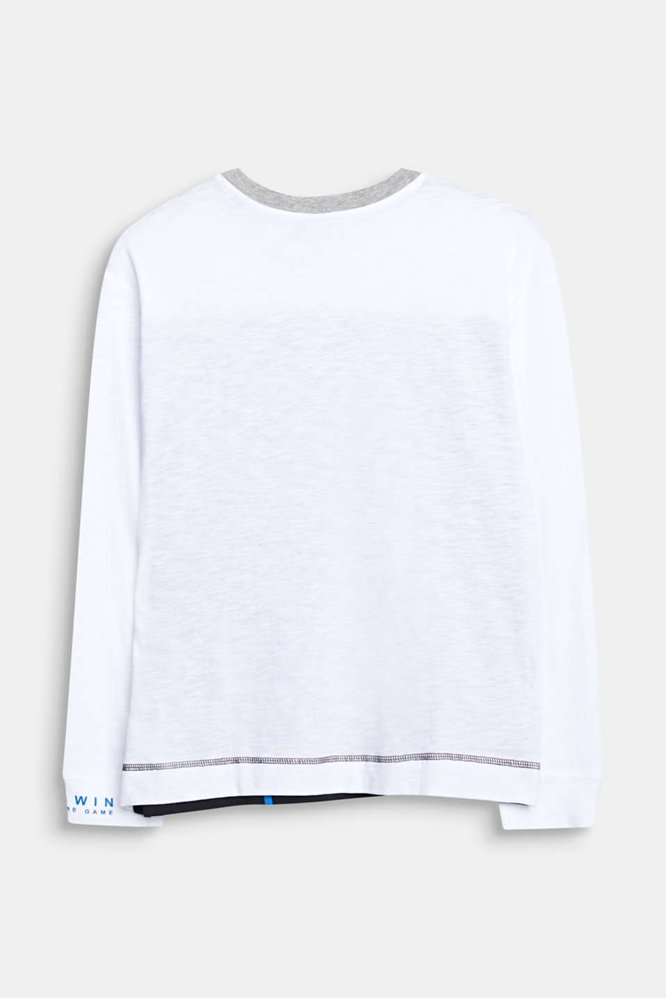 Colour block long sleeve top made of 100% cotton, LCWHITE, detail image number 1
