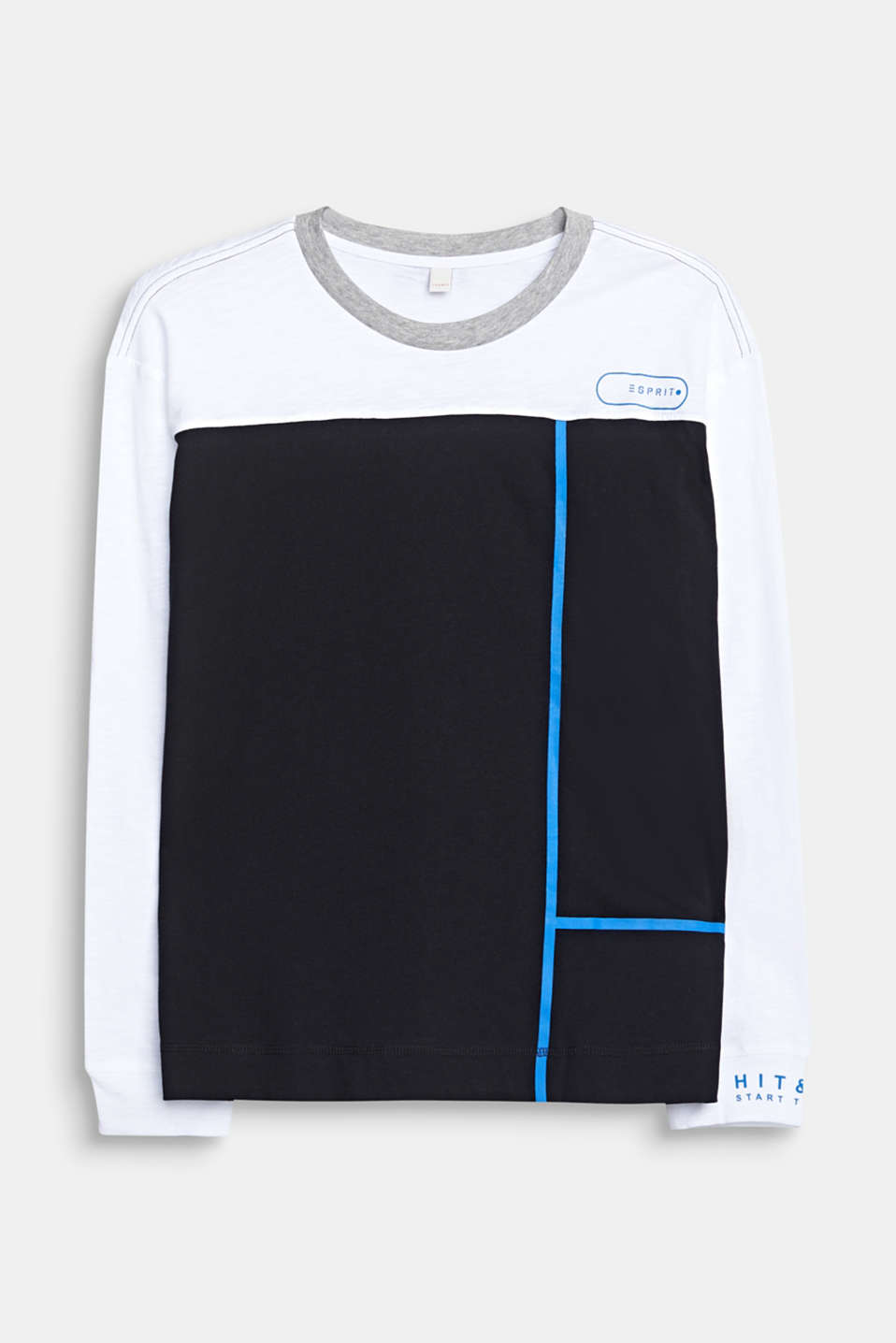 Colour block long sleeve top made of 100% cotton, LCWHITE, detail image number 0