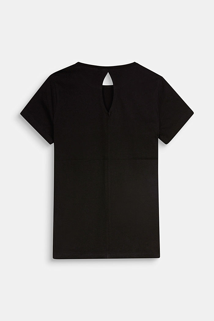 T-shirt met cut-out, 100% katoen, BLACK, detail image number 1